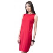 Привлекательное строгое платье малинового цвета