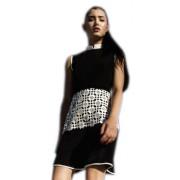 Дизайнерское платье из черного крепа на подкладке