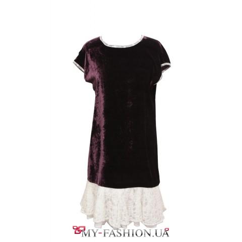 Бархатное платье чернильного цвета