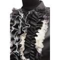 Модная блуза с рюшами и застежкой на металлическую молнию