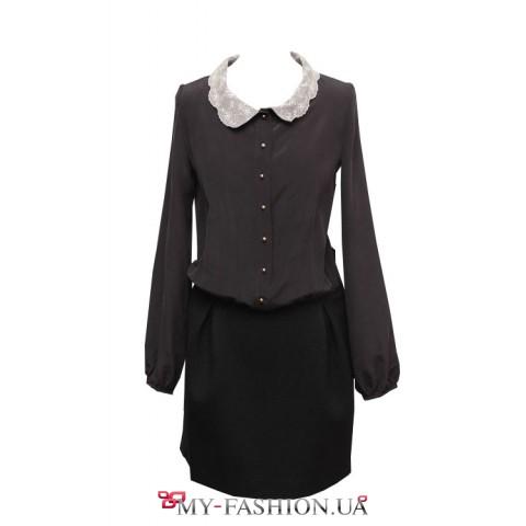 Черное шелковое платье свободного силуэта на поясе- резинке
