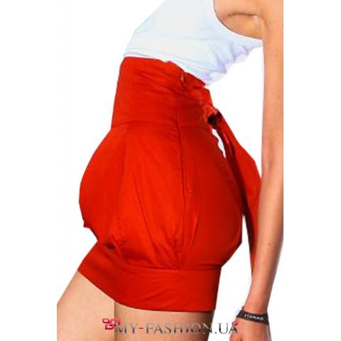Дизайнерская красная юбка- бочонок