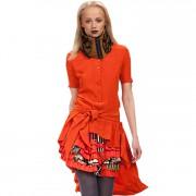 Яркое вечернее платье с огромными оборками и шлейфом
