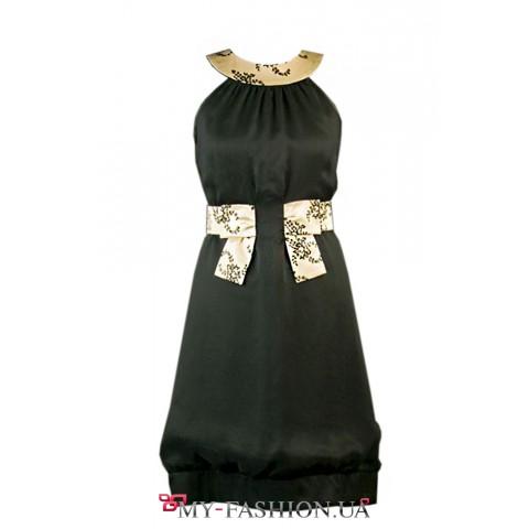 Двухслойное платье из шёлка и шифона