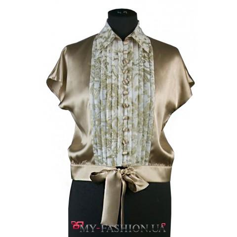 Шёлковая блузка с батистовой манишкой