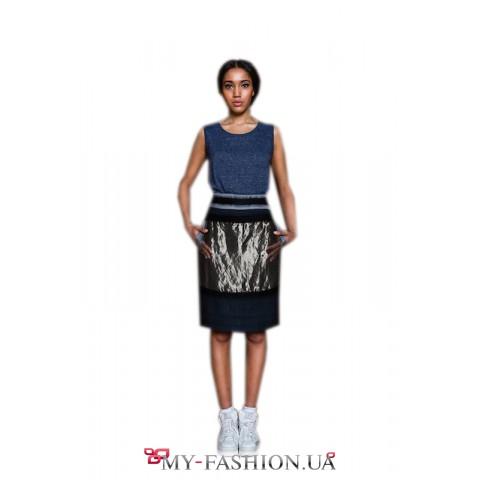 Дизайнерская узкая юбка с металлической застёжкой