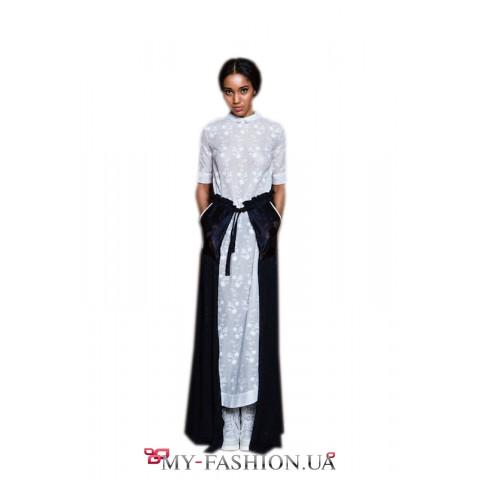 Стильное и привлекательное длинное белое платье