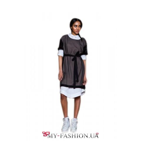 Двухслойное чёрно-белое платье-поло
