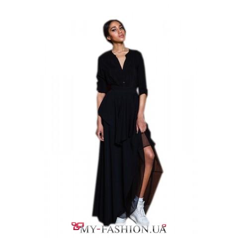 Женская шёлковая рубашка чёрного цвета