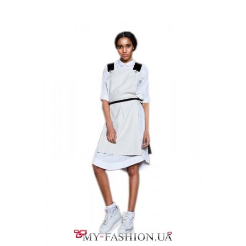 Белое платье из тонкого хлопка с фартуком