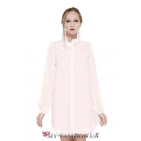Белое платье-рубашка из нежного шёлка