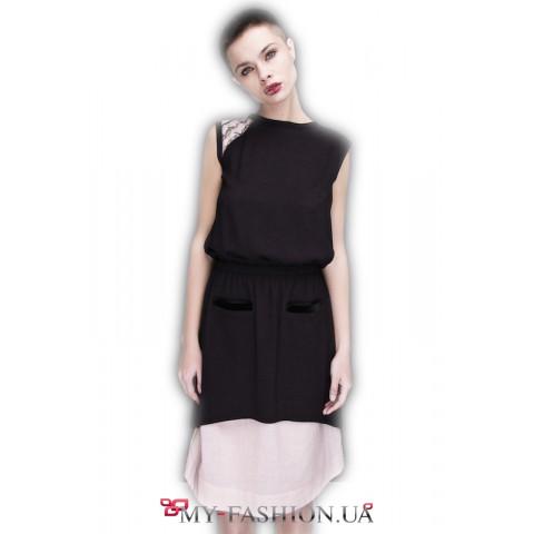Платье двойное, асимметричного кроя