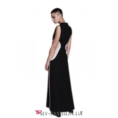 Черное платье в пол , чуть расклешенного силуэта
