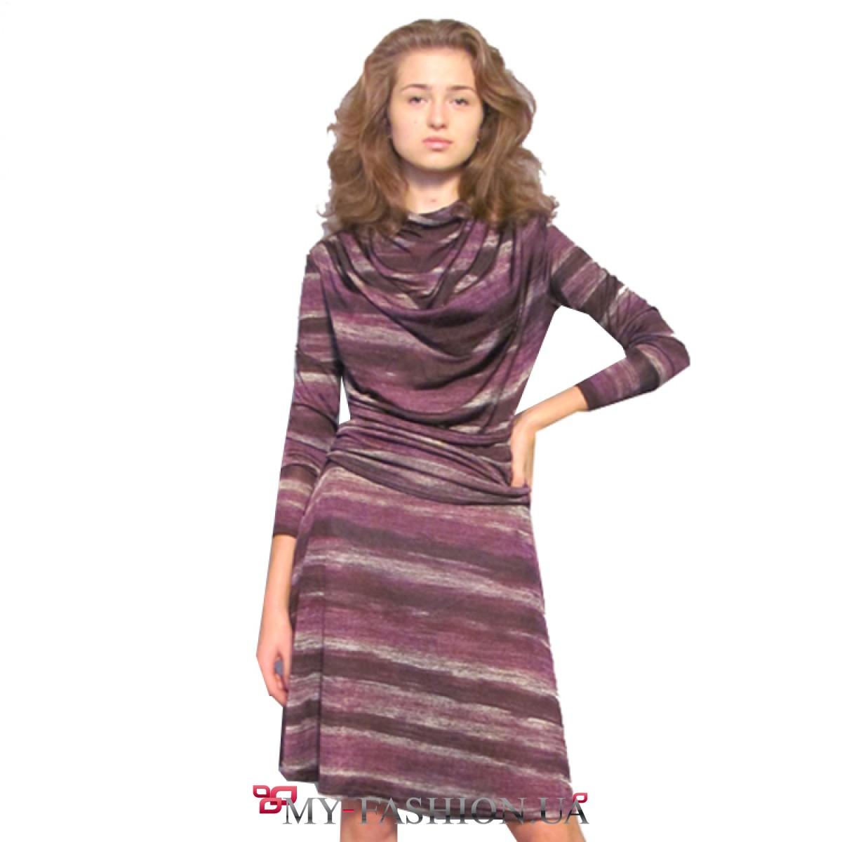 Платье Трикотажное С Длинным Рукавом Купить