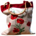 Сумка-мешок из натуральных тканей с декором