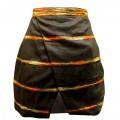 Чёрная льняная короткая юбка с декором