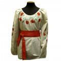 Льняная женская вышиванка с длинными рукавами