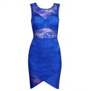 Дизайнерское комбинированное платье синего цвета