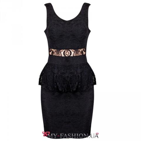 Вечернее платье чёрного цвета с кружевной баской