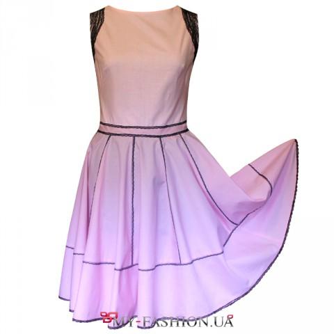 Дизайнерское хлопковое платье в мелкую клеточку