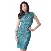 Коктейльное платье с юбкой миди длины бирюзового цвета