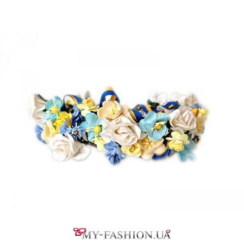 Милый широкий веночек в жёлто-голубых цветах