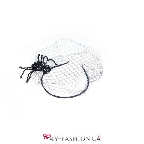 Тематический ободок с вуалью и пауком