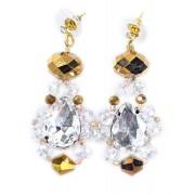 Мерцающие золотистые серёжки с кристаллами