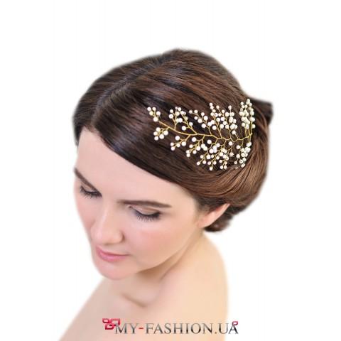 Нежное украшение для волос из жемчуга