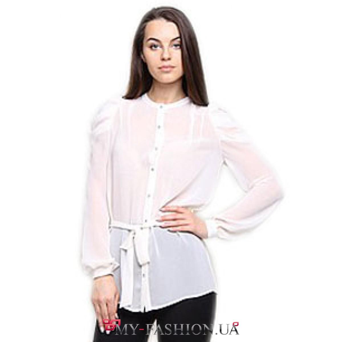 Белая шелковая блузка с длинным рукавом купить