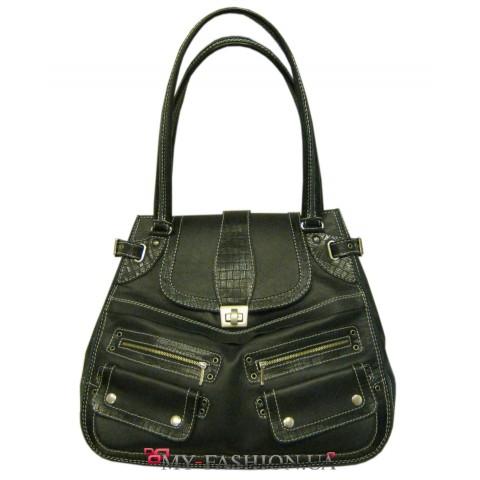 Дизайнерская сумка из натуральной кожи