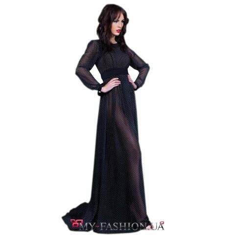 Элегантное платье-макси в мелкий горошек
