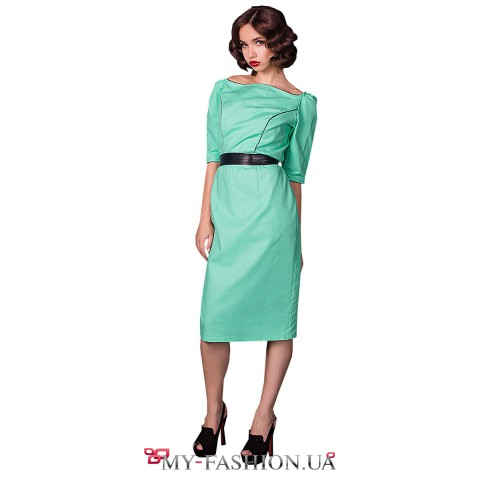 Классическое платье-миди со вставками из кожи