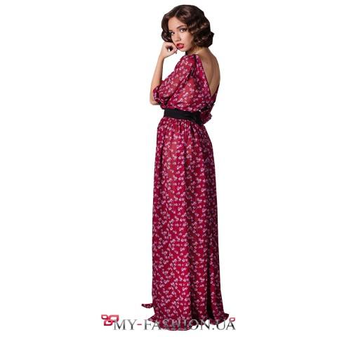 Платье максимальной длины с открытой спиной