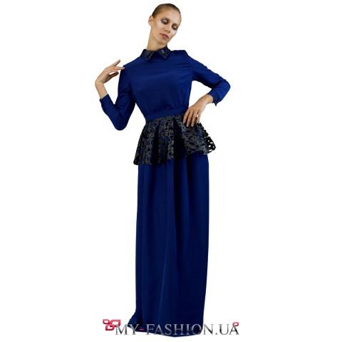 Шёлковое синее платье со съёмной басочкой