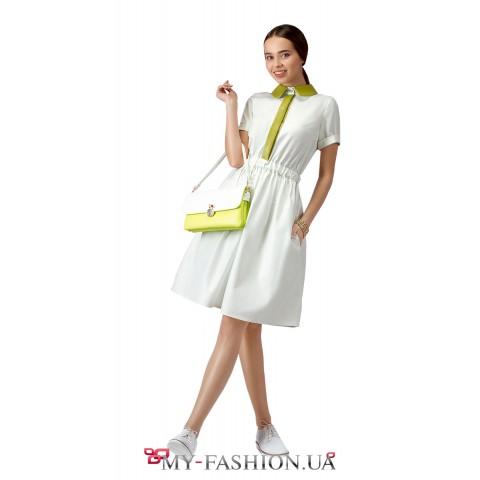 Платье-рубашка с контрастным воротником и планкой