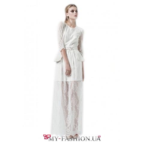Белое вечернее платье со съёмной баской