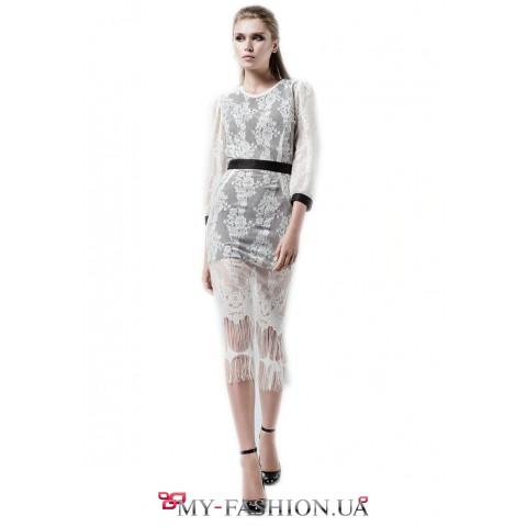 Комбинированное платье-трансформер средней длины