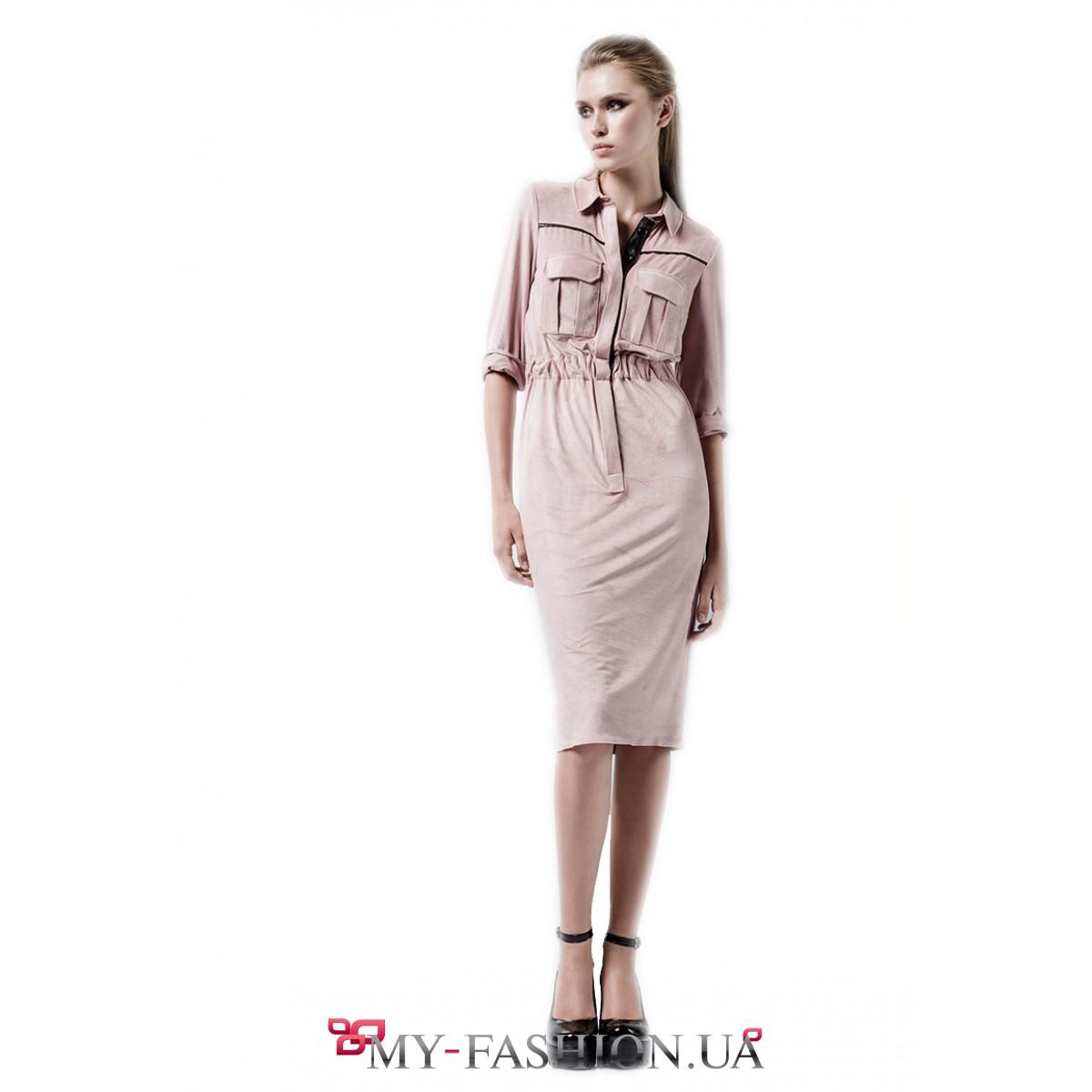 Розовое платье с рубашкой в