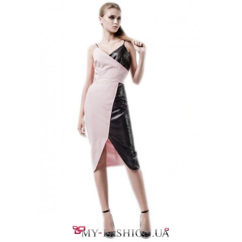 Контрастное комбинированное платье чёрно-розового цвета