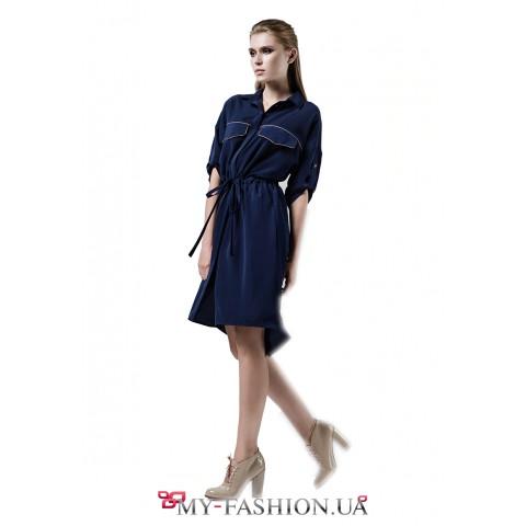 Платье-рубашка из мокрого шёлка тёмно-синего цвета