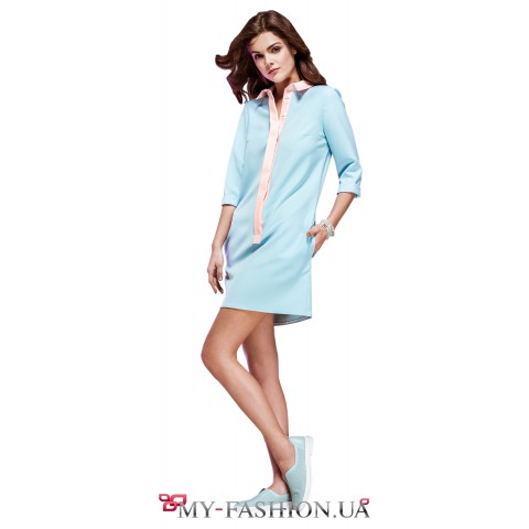 Короткое платье-рубашка мятного цвета