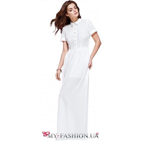 Длинное платье-рубашка белого цвета