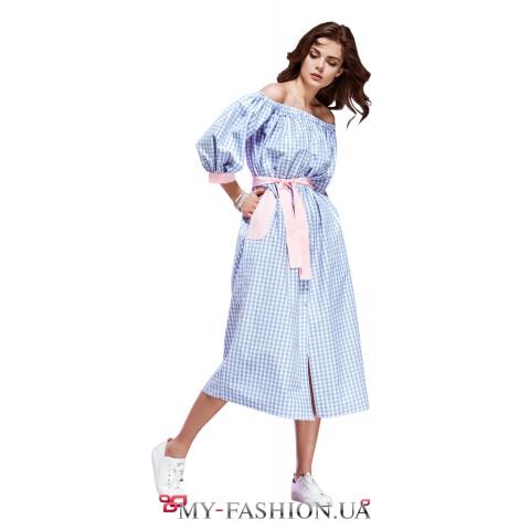 Клетчатое платье-сарафан свободного кроя