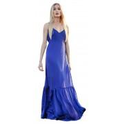 Синее шёлковое платье максимальной длины