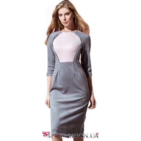 Комбинированное платье-футляр из мягкой замши