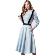 Трикотажное платье с портупеей из меха норки