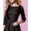 Платье чёрного цвета с портупеей из меха норки