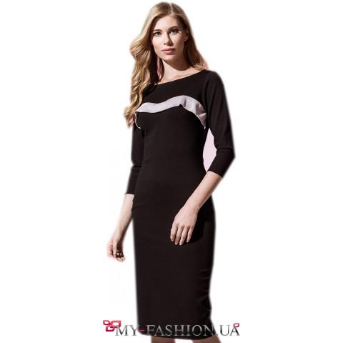 Трикотажное платье со вставкой из замши