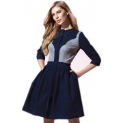Синее джинсовое платье с пышной юбкой